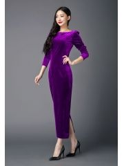 Ladies Noble Purple Back Split Package Hip Slim Lacing Bow Ankle-length Velvet Long Sleeve Maxi Dress