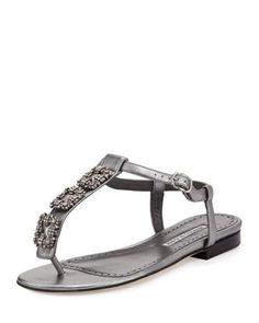 MANOLO BLAHNIK OTTOLINA CRYSTAL T-STRAP SANDAL, SILVER. #manoloblahnik #shoes #sandals