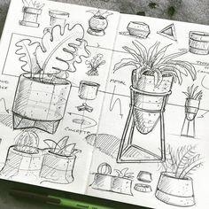 Interior Design Sketches, Industrial Design Sketch, Sketch Design, Plant Sketches, Art Drawings Sketches, Easy Drawings, Sketch Drawing, Kunstjournal Inspiration, Succulents Drawing