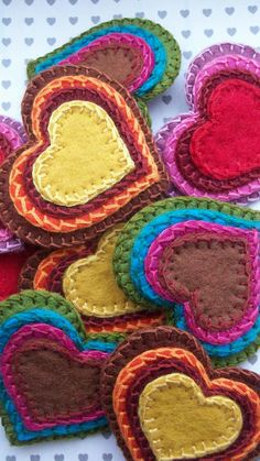 Hand Stitched, Stacked Felt Hearts. Make in to hair ties & clips.