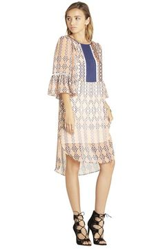 "BCBGeneration Print Woven Midi Dress available atFree your inner bohemian with this airy, modestly cut day dress detailed with ladder stitching around the tuxedo-style bib and ruffly elbow-length sleeves.  36 3/4"" length. Slips on over head.navy/sea #Nordstrom"