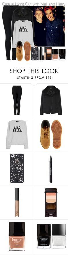 """""""Casual Night Out with Niall and Harry"""" by elise-22 ❤ liked on Polyvore featuring Topshop, Proenza Schouler, MANGO, Timberland, Shiseido, Chanel, NARS Cosmetics and Butter London"""