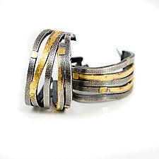 """Wide Wave Hoop Earrings by Lori Gottlieb (Gold & Silver Earrings) (1"""" x 0.5"""")"""