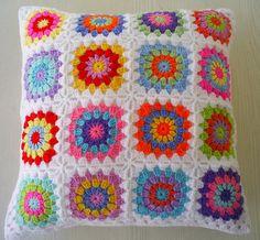 hippie happy granny cushion cover by riavandermeulen, via Flickr