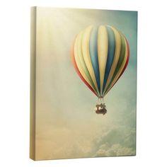 JP London LCNV2312 Floating Rainbow Hot Air Balloon Gallery-Wrapped Canvas Art