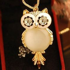 New (mix order) Fashion jewelry Cute big opal owl pendant necklace long chain N821 #Affiliate