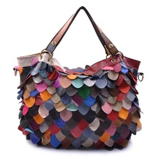 Leather Bag /// Handmade Bag /// MultiColor Tote Bag by leatherkoo