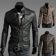 Sexy Men's Slim Autumn Top Lapel Designed PU Leather Short Jacket Coat | eBay