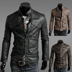 Sexy Men's Slim Autumn Top Lapel Designed PU Leather Short Jacket Coat   eBay