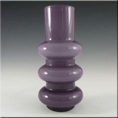 Ryd 1970s Swedish/Scandinavian Purple Glass Hooped Vase - £79.99