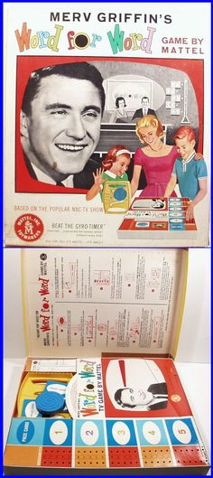 Vintage 1963 Merv Griffin's WORD FOR WORD Board Game by Mattel, fun game!