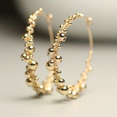 Gold Fill Hoop Earrings Golden Berries Hoops by fussjewelry