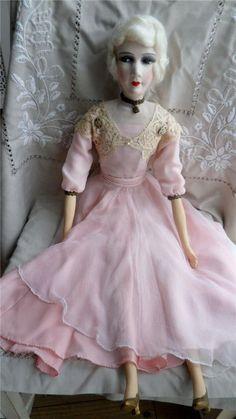 "Antique Tall 31"" Flapper Boudoir Doll C1920"