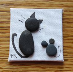Miniature de galets Art aimant Chat et souris 2 x 2
