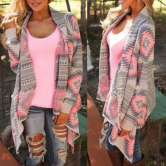 New hot fashion women's autumn loose knitted cardigan sweater outwear print coat