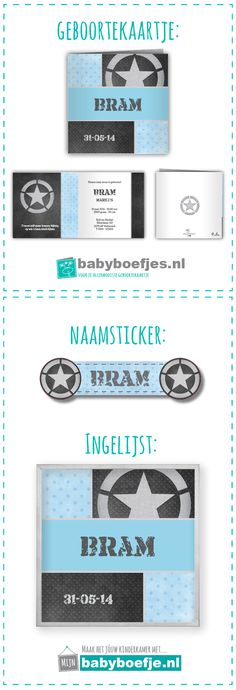 #geboortekaartjes #naamsticker #wanddecoratie #babykamer #jongen #stoer #stempel #blauw.  In dezelfde stijl als je geboortekaartje bieden wij ook naamstickers en een ingelijst ontwerp aan. Op deze manier kun je in dezelfde stijl je babykamer nog verder opvrolijken. De geboortekaartjes zijn verkrijgbaar op www.babyboefjes.nl. De naamstickers en wanddecoratie op www.mijnbabyboefje.nl