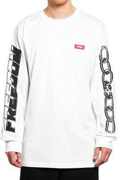5b0beab2b656 032c Motocross Longsleeve Freedom White - 032c Printed Cotton