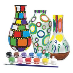$21.49 - A complete paint set of keepsake vases.• Paint Your Own Vases set includes 3 porcelain vases, 12 brightly colored paints and a brush.• All you have to do is paint the vases.• Let them dry.• And then bake them in the oven. • Then you are all set to put beautiful flowers in these vases for a long time. • Because you actually bake these, the colors are more vibrant and they last longer.