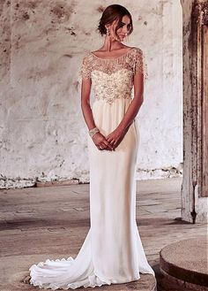 Fashionable Tulle & Chiffon Scoop Neckline Full Length A-Line Wedding Dress With Beadings