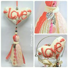 Borlas decorativas CORAL con bordado mexicano Diy Tassel, Tassel Jewelry, Chabby Chic, Boho Bags, Felt Fabric, Felt Hearts, Felt Toys, Hippie Style, Sewing Projects