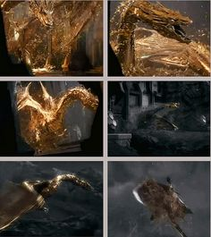 Golden Smaug, The Hobbit. When I watched this part I was like: dude! You're covered in gold! Isn't that what you want??? Well anyway, it's raining gold somewhere at the base of the lonely mountain.