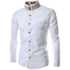 TheLees Mens unique double collar shirts (115 BRL) ❤ liked on Polyvore featuring mens, men's clothing and men's shirts