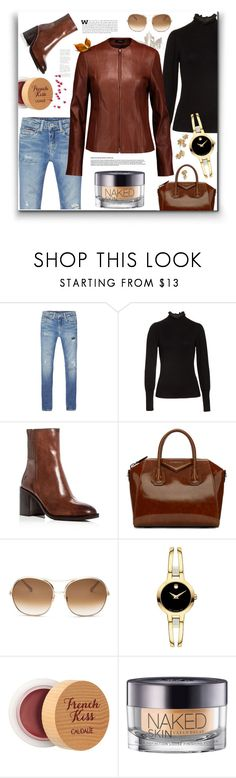 """Leather Jacket - Brown"" by ames-ym ❤ liked on Polyvore featuring Tommy Hilfiger, Rebecca Taylor, Frye, Givenchy, Chloé, Movado, Caudalíe, Urban Decay, Theory and leatherjacket"