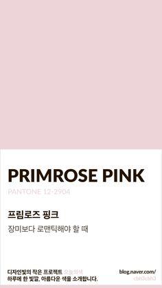 Color of today: Primrose Pink디자인빛의 작은 프로젝트 오늘의색은 하루에 한 빛깔, 아름다운 색과 재... Colour Pallette, Colour Schemes, Color Patterns, Pantone Colour Palettes, Pantone Color, Serenity Color, Aesthetic Colors, Colour Board, Color Names