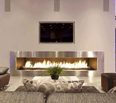 Fireplace:Chic Living Room Design Long Fireplace Layout Minimalist Interior Greenery Plant Decoration Incredible Room with Stylish Fireplace Design Chic Living Room, Cozy Living Rooms, Living Room Modern, Living Room Decor, Modern Sofa, Lounge Design, Interior Design Salary, Salons Cosy, Sala Grande