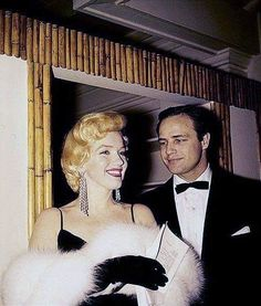 Marilyn Monroe and Marlon Brando at the premiere of The Rose Tattoo, December 1955.