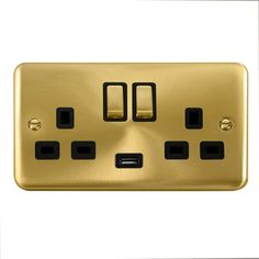 5 x chrome satiné double//twin switched socket blanc insert