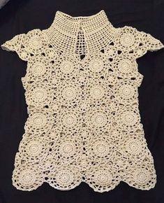 Crochet Diagram, Crochet Motif, Crochet Lace, Crochet Stitches, Crochet Shirt, Crochet Cardigan, Knitting Patterns, Crochet Patterns, Sewing Patterns