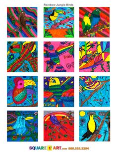 Rainbow Jungle Birds Medium: Markers www.square1art.com