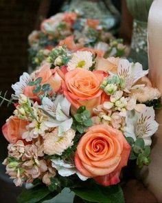 Bridal Party's Bouquets: Peach Roses, Peach Stock, White Alstromeria, Additional Coordinating Florals + Baby Blue Eucalyptus