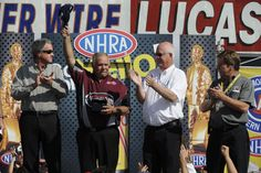 Top Alcohol Funny Car Driver Frank Manzo is honored by NHRA on his final day as a driver.  Manzo is retiring with a record 17 Championships