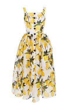 DOLCE & GABBANA Cotton Lemon Print And Needlepoint Dress. #dolcegabbana #cloth #dress