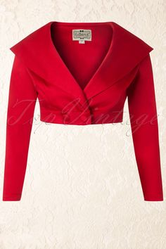Gilda Cropped Jacket in Red Collectif Clothing - Gilda Cropped Jacket in Red Kurta Designs, Blouse Designs, 1950s Outfits, Stylish Blouse Design, Blazer Outfits, Indian Designer Wear, African Fashion, Mantel, Designer Dresses