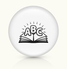 ABC Book icon on white round vector button vector art illustration