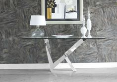 CR Serie Glass Top Console Table