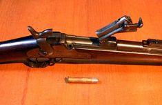 Springfield Trapdoor Rifle with breech open. Custer's troops were equipped with these breech loading, single-shot rifles at the Battle of the Little Bighorn.