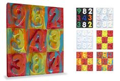 Art Projects for Kids: Jasper Johns Numbers (Modification for Preschoolers: 1. foam stickers on paper then paint over it; 2. rub over foam stickers)
