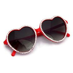 Heart+Shaped+Sunglasse | Red Heart Shaped Sunglasses Rhinestones - Sunglasses | RebelsMarket