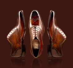 Brown Wingtip Shoes.  Suggested with a gray or navy suit.