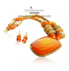 #Orange #Stone #Beaded #Neckpiece is sute to any dress you carry for the party.CaASH ON DELIVERY available.