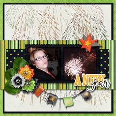 A New Year - digital scrapbook layout I created using Bring It On Page kit by Across the Pond {Mandy King & Seastrout Scraps} at Gingerscraps. I love the New Year theme, the fresh colors and the lovely flowers in this kit.