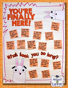 First day of school activities & chart for You're Finally Here! by Melanie Watt, author of Scaredy Squirrel
