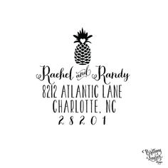 Paper & Party Supplies  Return Address  address stamp  housewarming gifts  self inking stamp  hospitality  new england made in usa  pineapple trend  preppy stamp  southern stamp  fruit address  pineapple address Wedding Moving New Stationery Home by brittanylaurendesign on Etsy