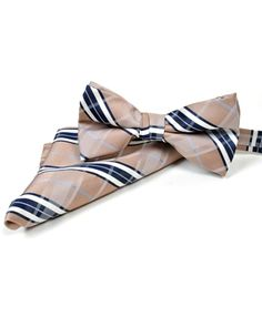 BG Beige Plaid Pre-Tied Bow Tie and Matching Hanky Set