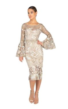 Two Tone Embroidered Bell Sleeve Cocktail Dress by Terani Couture Mother Of The Bride Dresses Long, Mothers Dresses, Brides Mom Dress, Couture Dresses, Fashion Dresses, Cocktail Attire, Terani Couture, Designer Evening Dresses, Bell Sleeve Dress