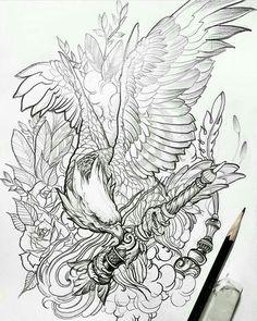 Tattoo Design Drawings, Tattoo Sketches, Eagle Drawing, Eagle Tattoos, Japanese Tattoo Designs, Japan Tattoo, Oriental Tattoo, Desenho Tattoo, Tattoo Stencils